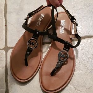 Michael Kors Strappy Leather Black Sandals